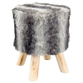 Tabouret pouf fourrure