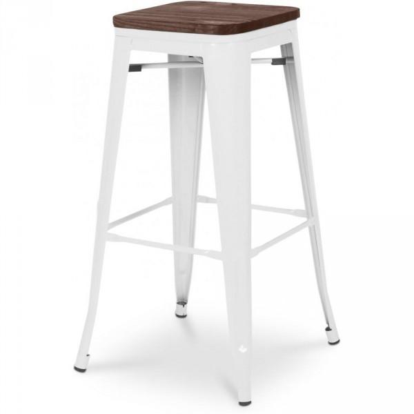 Tabouret de bar en bois blanc