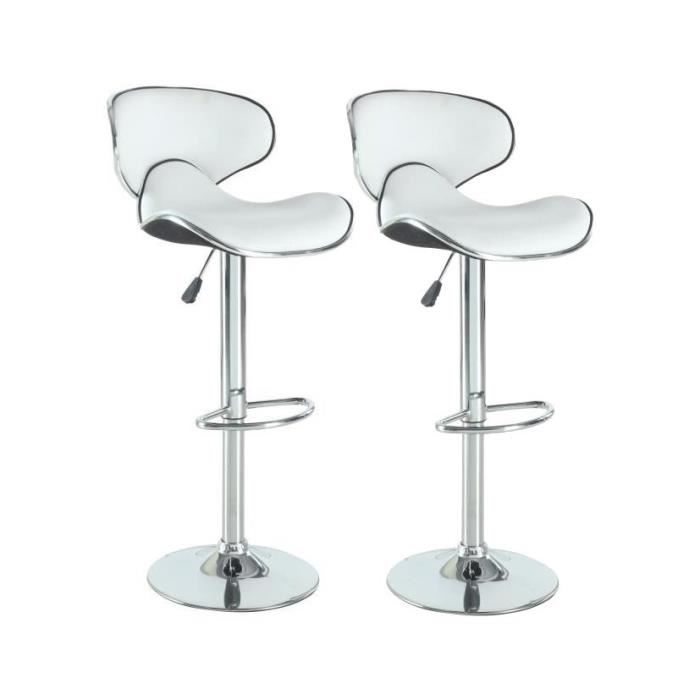 Tabouret de bar simili blanc