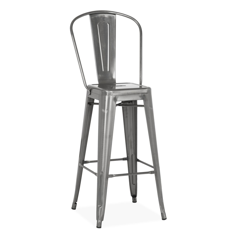 Tabouret de bar industriel en metal noir duhome type 9-634 chaise de bar vintage style