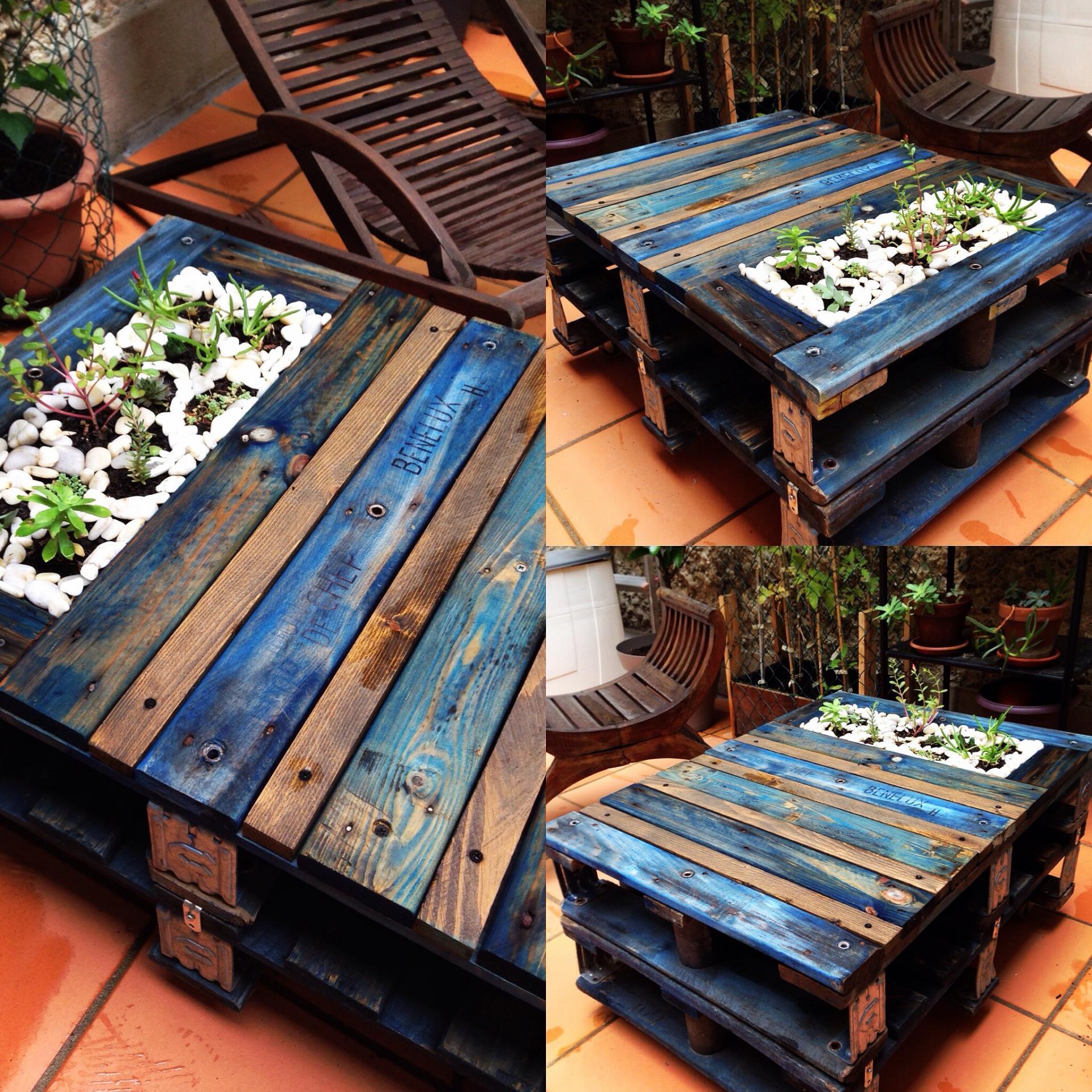 Table basse palette jardin - emberizaone.fr