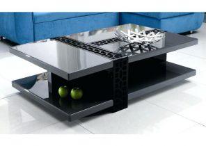 Table basse design arcadya laqué noir/noir