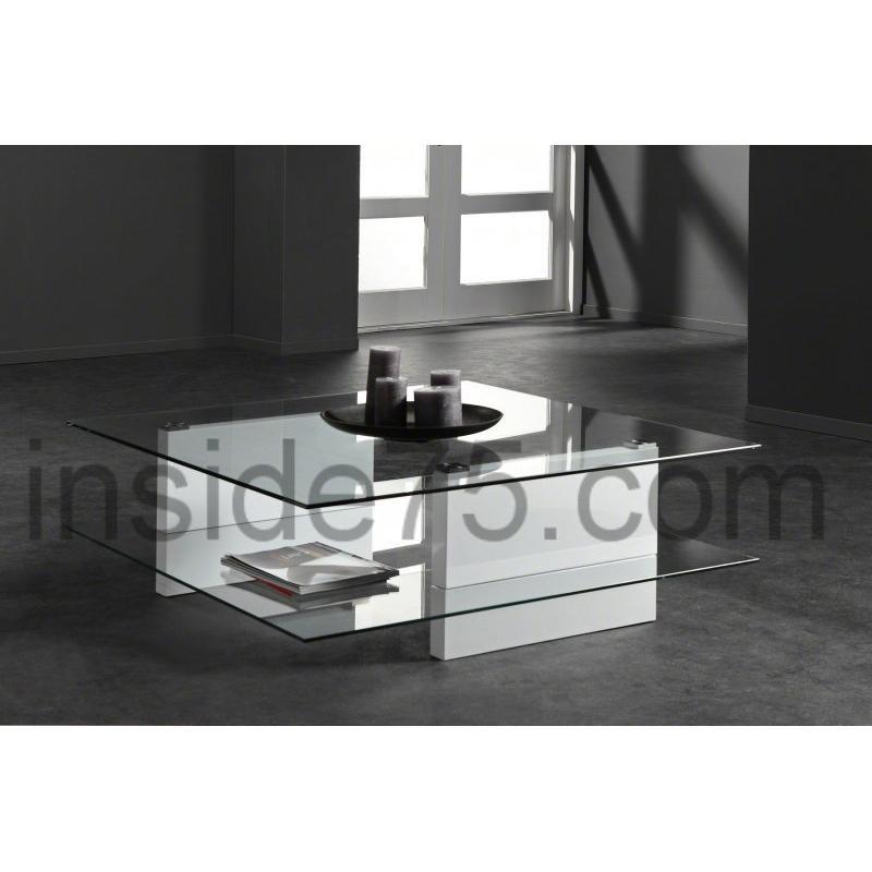 Table basse design carree verre