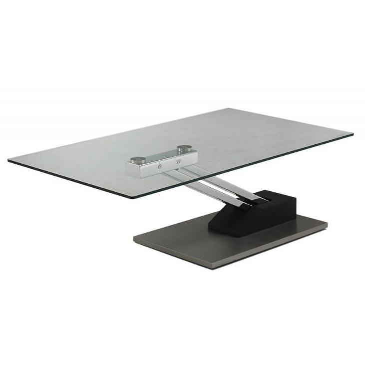 Table basse relevable verre