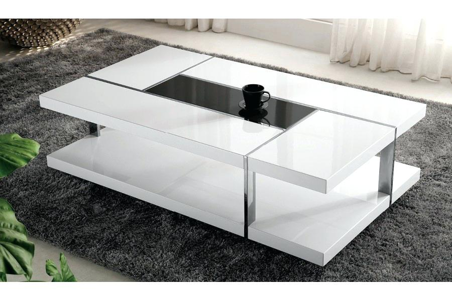 Table basse design blanc laqué verseau