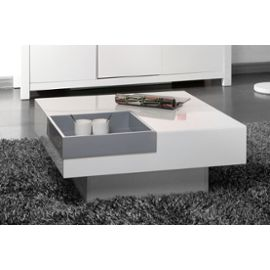 Table basse design gris blanc