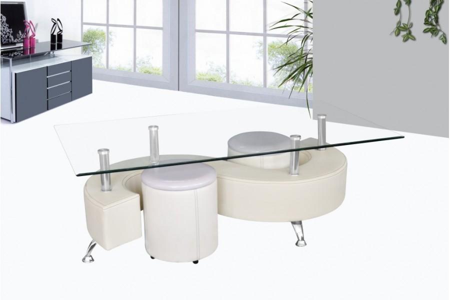 Table basse design avec pouf