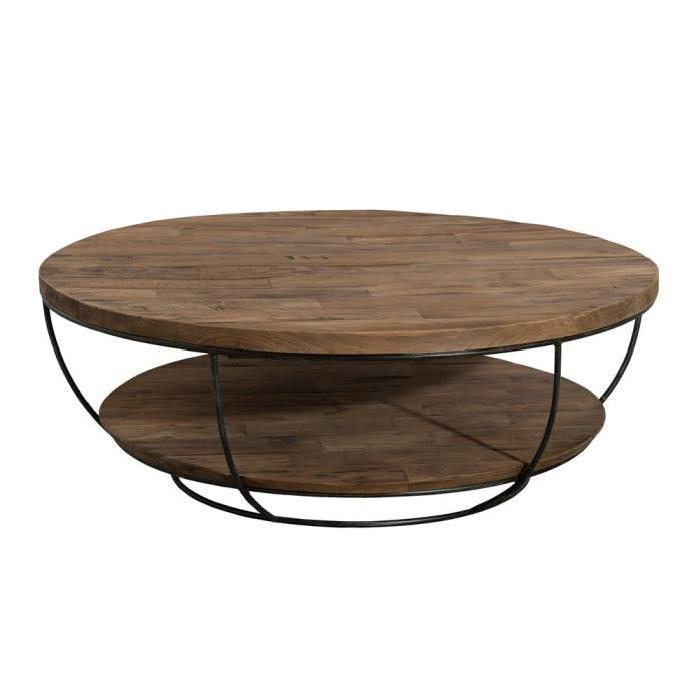 Table basse ronde bois fer forgé