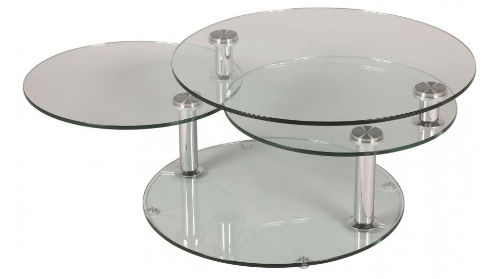 Table basse en verre avec plateau pivotant