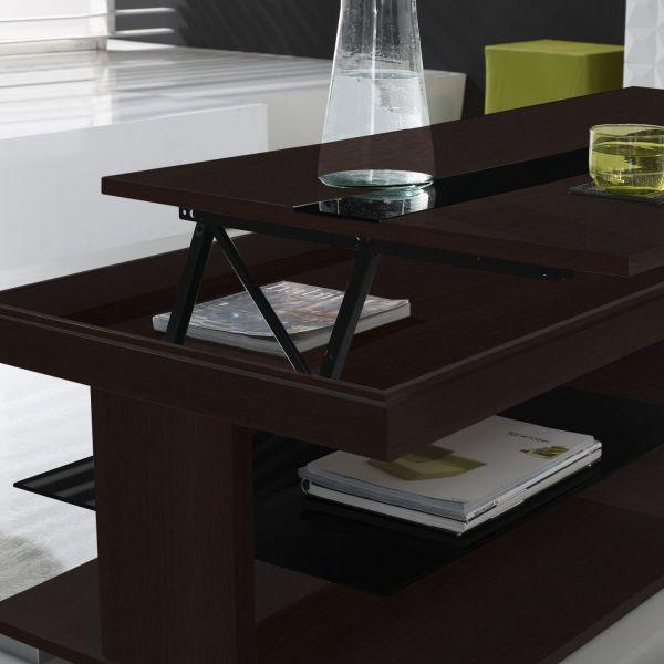 Duplex table basse relevable wengé/noir