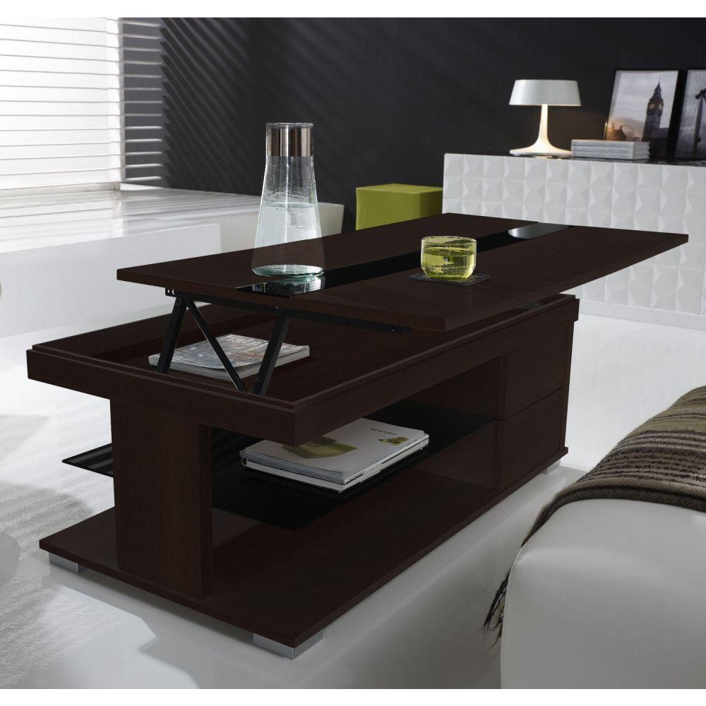 Table basse relevable lea wenge et verre noir