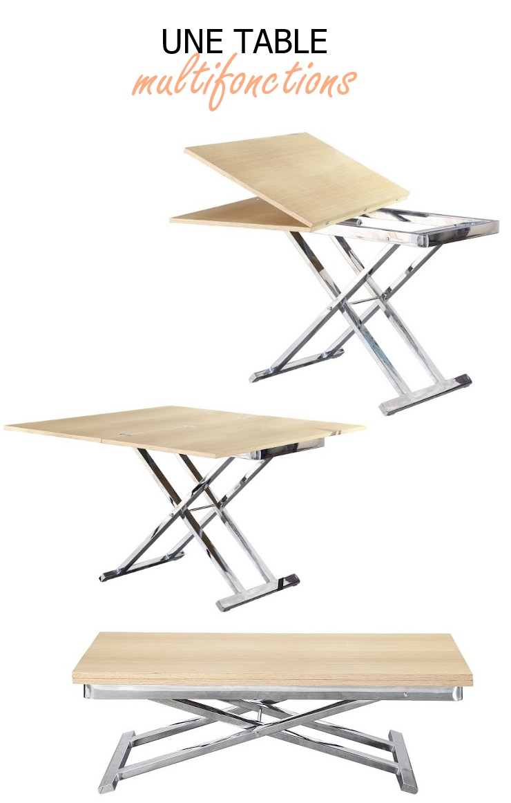 Upper table basse relevable et extensible