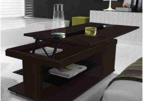 Table basse relevable lea wenge et verre blanc