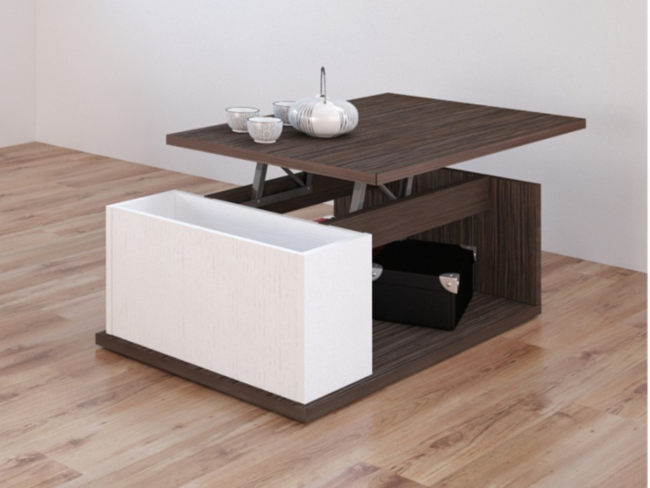 Table basse plateau relevable wenge