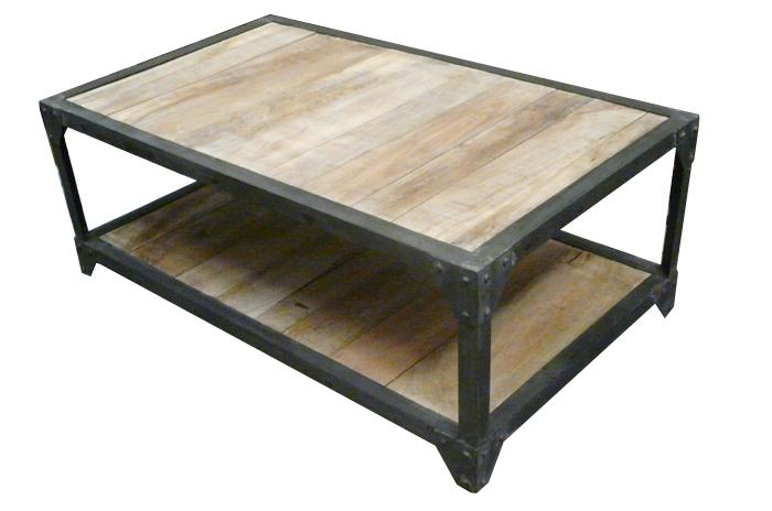 Table basse industrielle bois et fer