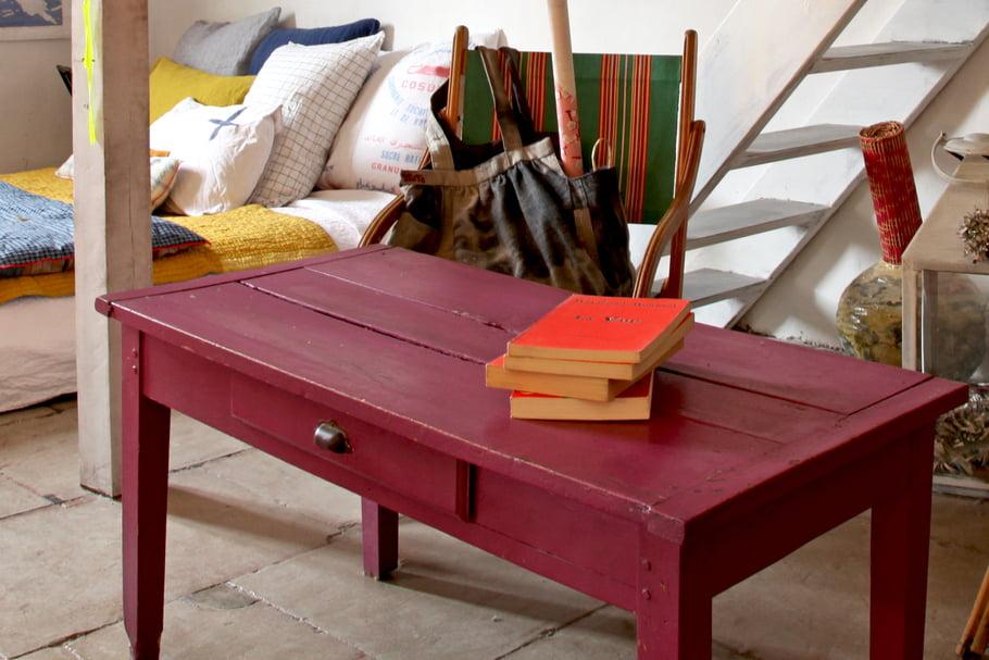 Table basse bois rénovée