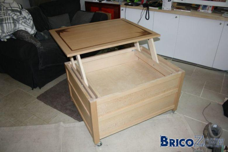 Fabriquer une table basse plateau relevable