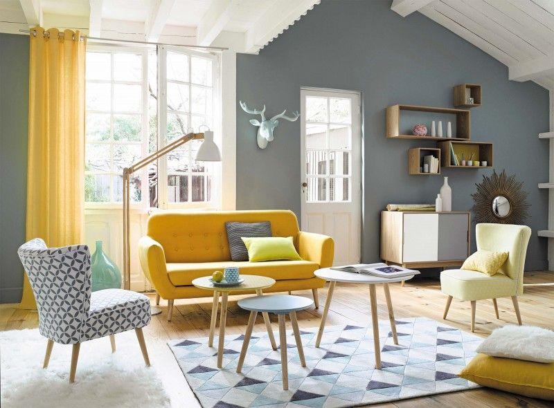 Table basse scandinave gris et jaune