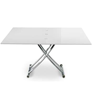 Table basse relevable carrera xl taupe laqué