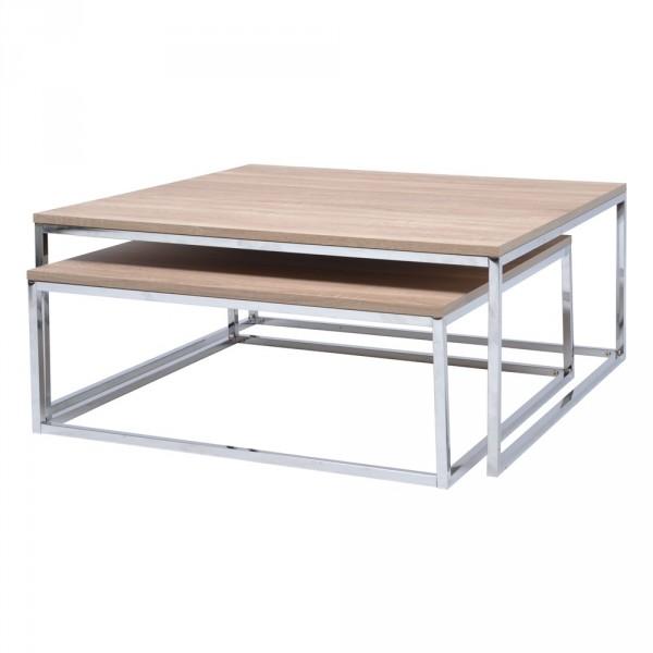 Table basse carrée en bois laqué avec plateaux relevables l80cm ugo