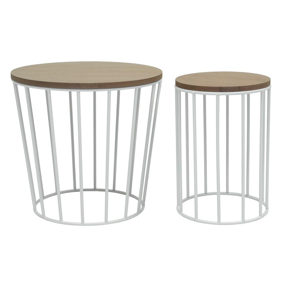 Table basse bois blanc et metal