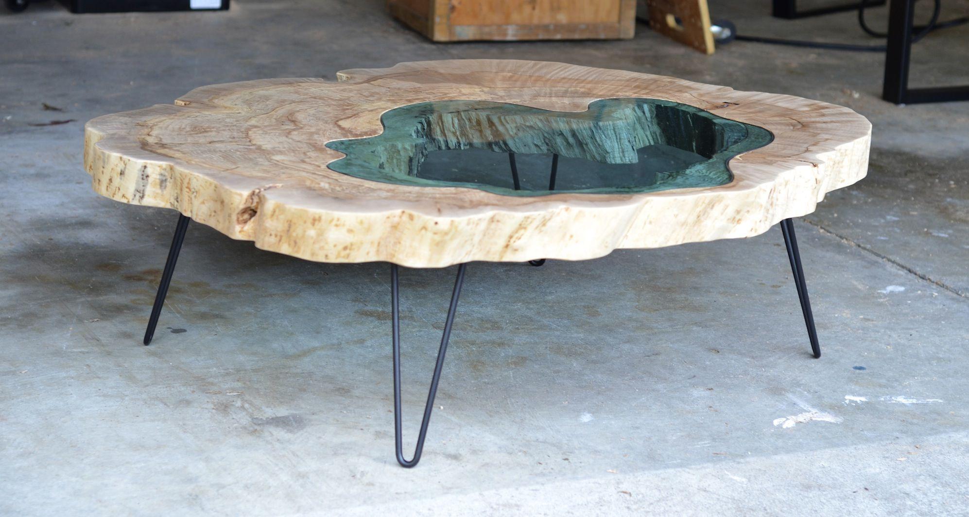 Table basse epoxy bois