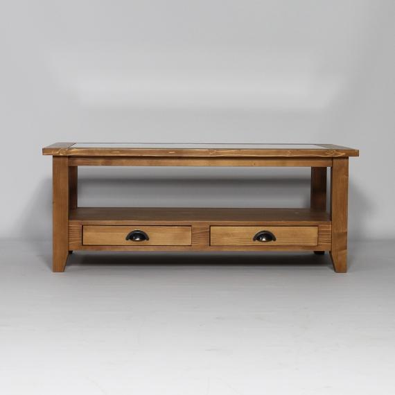 Table basse vitrée bois massif