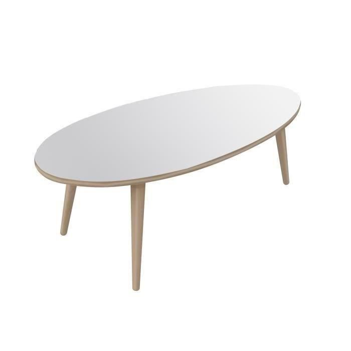 Table basse scandinave ovale blanche