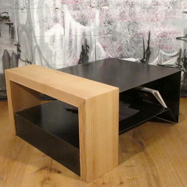 Table basse bois métal design