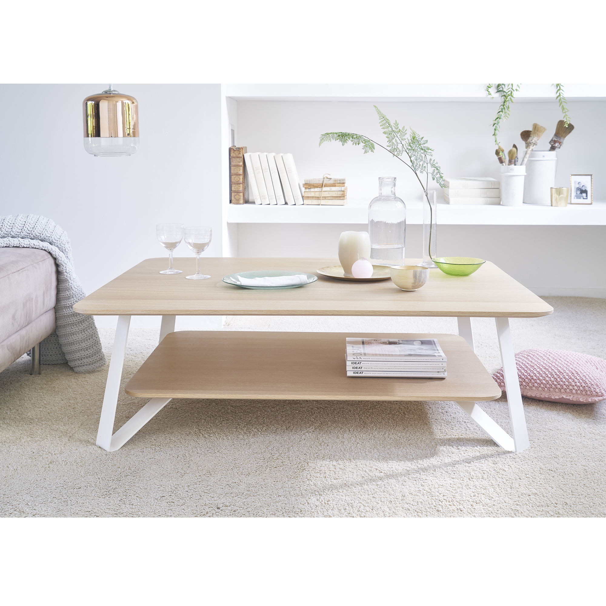 Table basse bois or