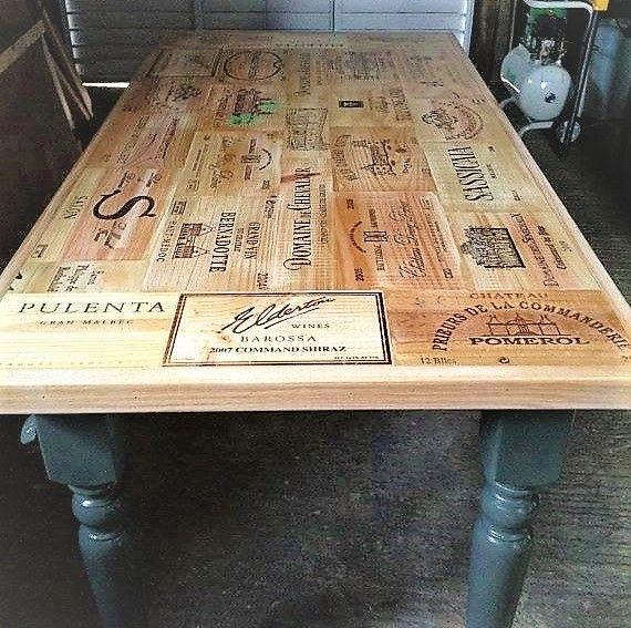 Table basse caisse bois vin
