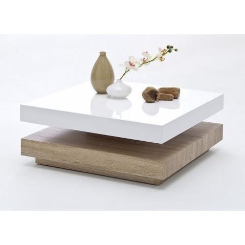 Table basse blanche laqué bois