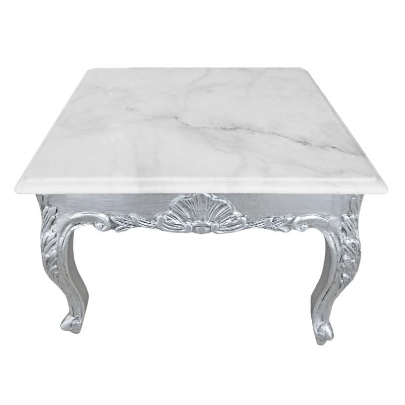 Table basse bois blanc baroque