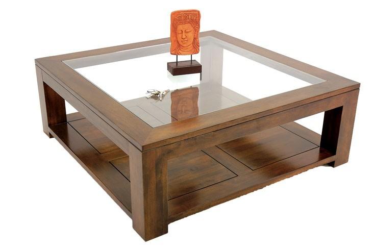 Table basse carrée bois fly