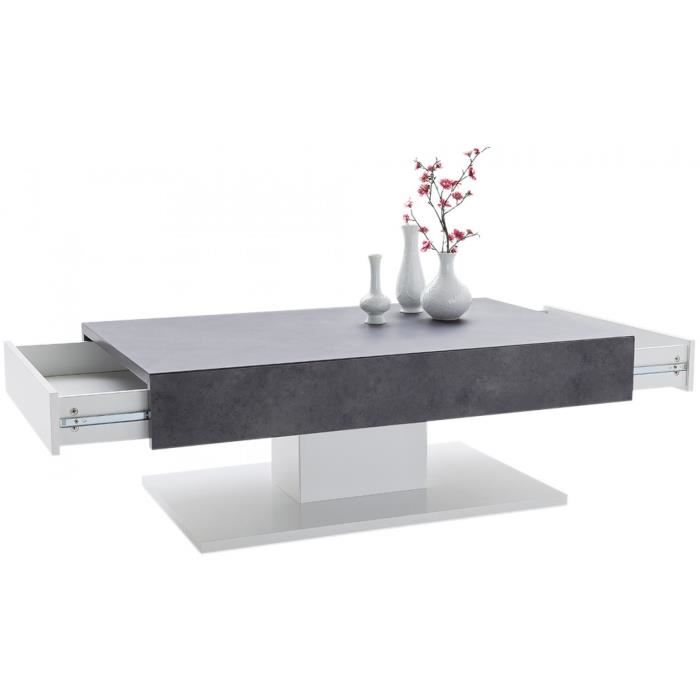 Table basse bois et blanc mat
