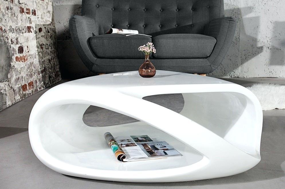 Table basse design blanc laqué santana 90 cm
