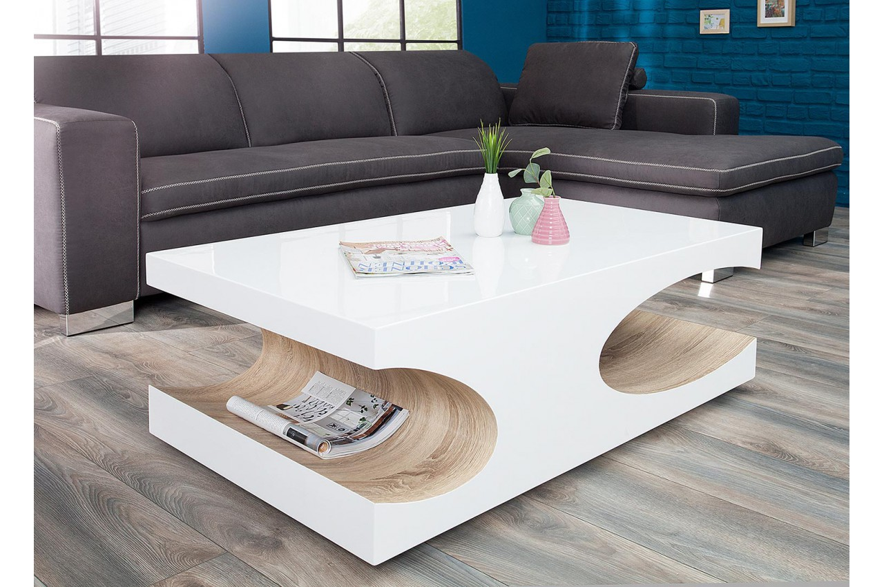Table basse design blanche et bois