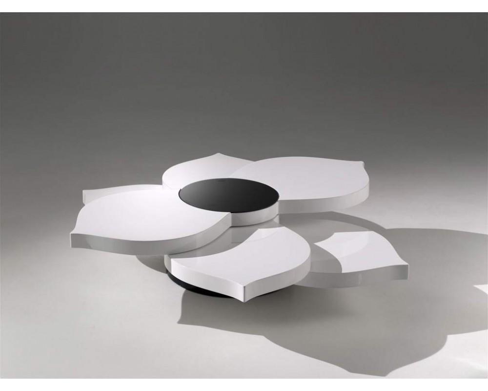 Table basse originale bois et blanc