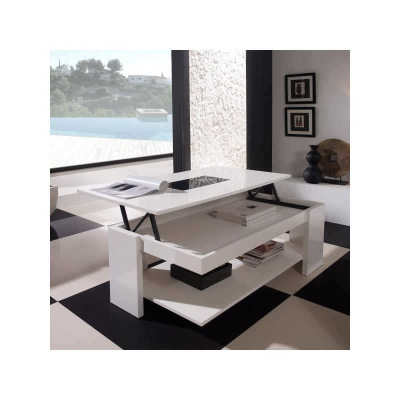 Table basse design taylor ii blanc/anthracite laqué