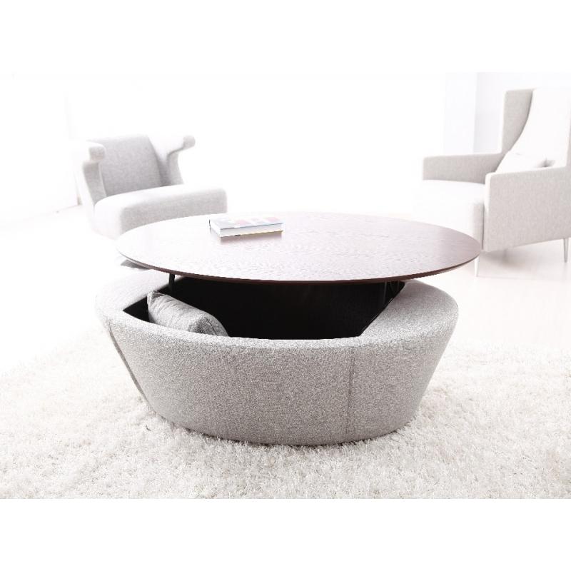 Table basse ronde avec coffre