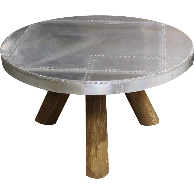 Table basse bois pied alu