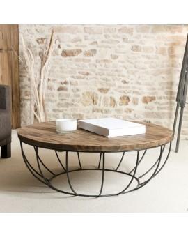 Table basse scandinave bois metal ronde