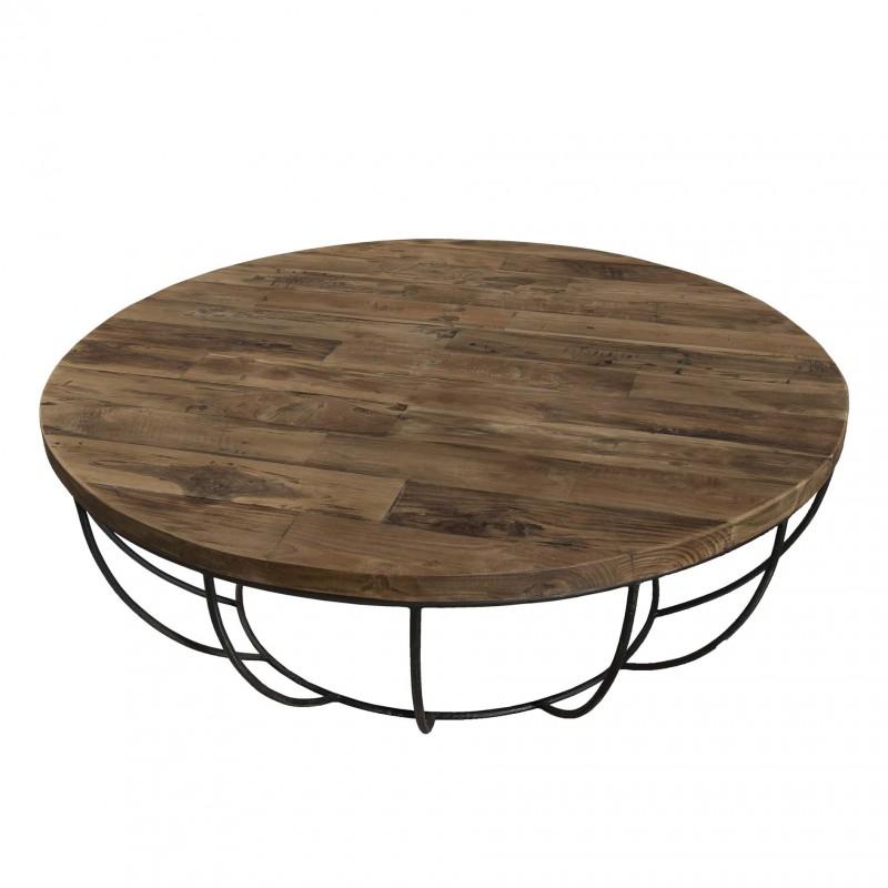 Table basse bois et metal ovale