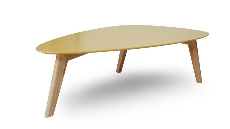 Table basse scandinave blanc et jaune