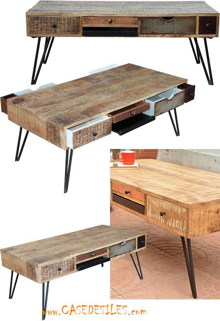 Table basse scandinave bois et metal