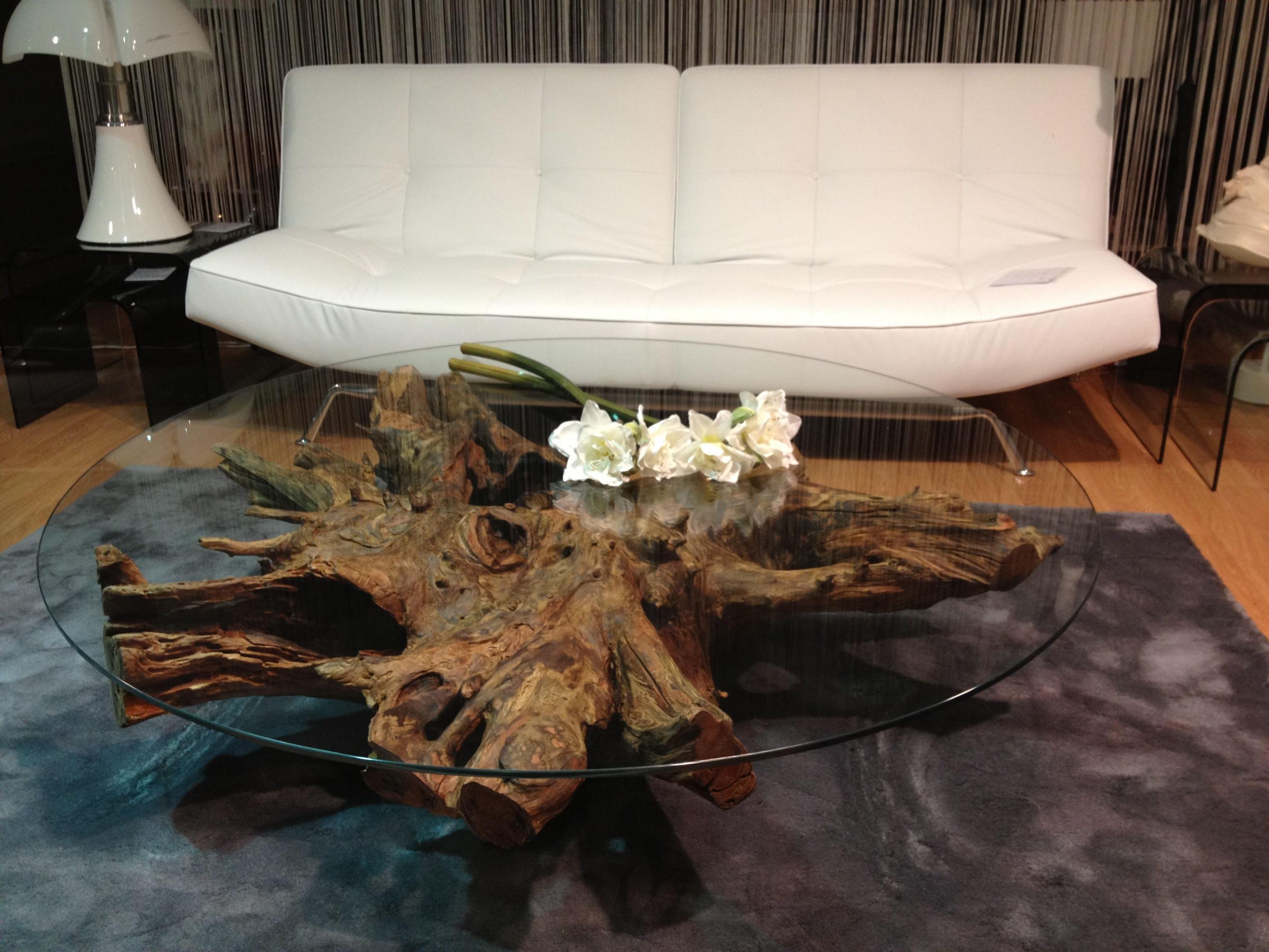 Table basse en bois d'arbre