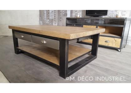 Table basse tiroirs bois