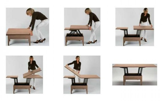 Table basse relevable et pliable