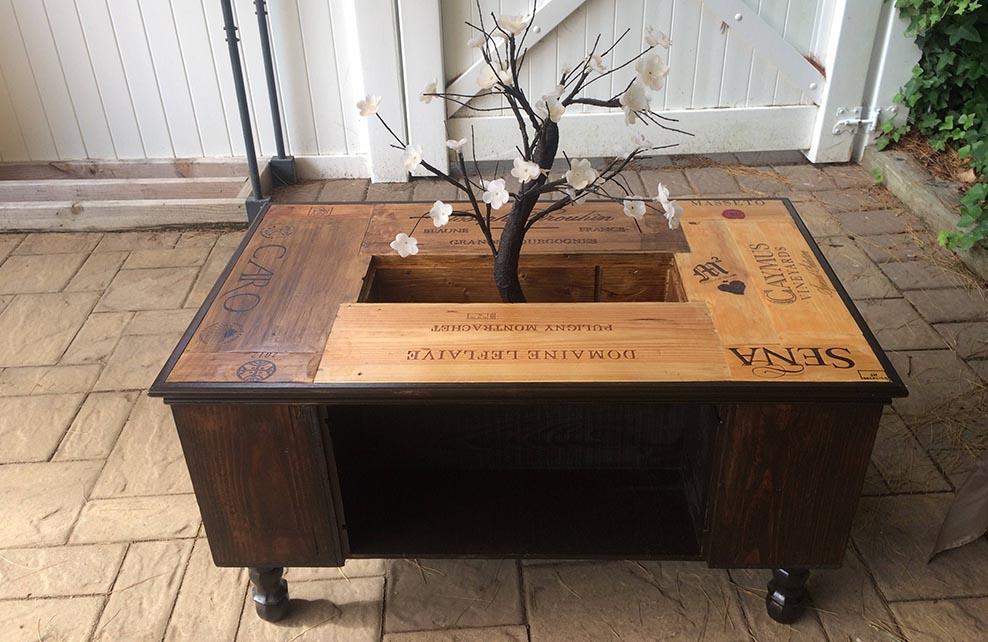 Table basse boite bois