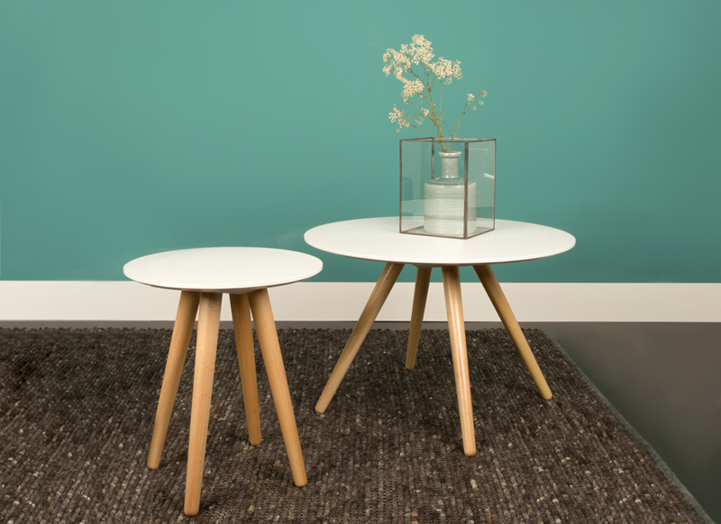 Table basse ronde blanc bois